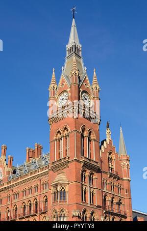 St Pancras Station, Clock Tower, London, United Kingdom - Stock Image
