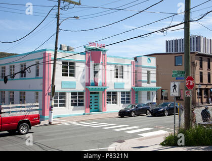 June 23, 2018- St. Johns, Newfoundland: The attractive South Beach building, in pink white and green, sits on the corner of downtown Duckworth and Hol - Stock Image