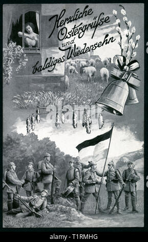 Germany, Hamburg, Bergedorf, WW I, the First World War, propaganda, patriotic Easter postcard with the text: 'Warmest Easter greetings and the hope to see you again soon ', also a drawing showing soldiers, a bell, willow catkins and a young sad lady, postcard sent 25 03 1915. , Additional-Rights-Clearance-Info-Not-Available - Stock Image