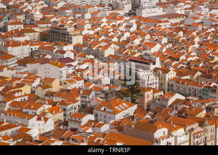 High-angle view of the orange roof buildings in the town of Nazare, Estremadura, Portugal, Europe - Stock Image