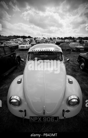 Volkswagen Beetle on taking part in the classic car show at the 2018 Cheshire Steam Fair - Stock Image