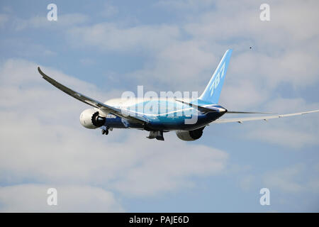 the first Boeing 787-8 Dreamliner prototype taking-off with undercarriage retracting - Stock Image
