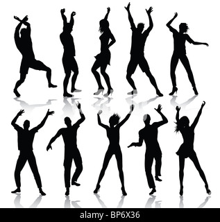 Dancing people silhouettes - Stock Image