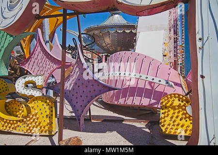 Las Vegas  Neon Boneyard Museum  exhibits old neon signs removed from buildings with history and the stories of the past. - Stock Image