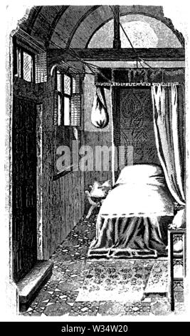 Women's chamber of the 15th century, ,  (cultural history book, 1875) - Stock Image