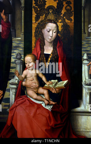 Virgin and Child with Saints James and Dominic, 1488, by, Hans Memling, ( Memlinc ), 1430 – 1494, Belgian, Belgium, Flemish, - Stock Image