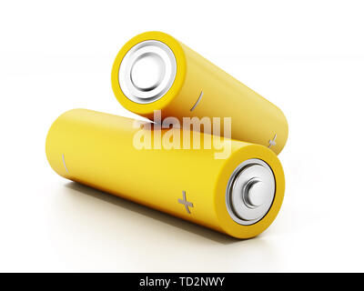 Generic AA batteries isolated on white background. 3D illustration. - Stock Image