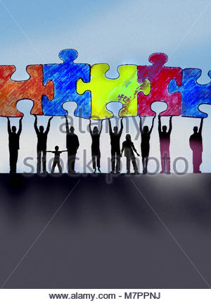 Community working together to connect jigsaw puzzle pieces - Stock Image