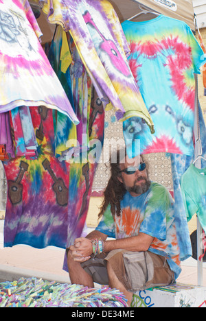 Tie-dye Joe at the 'Hillyard Hippie Happening in the Hillyard district of Spokane, Washington State, USA. - Stock Image