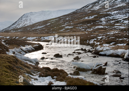 image of clunie water in winter in glenshee aberdeenshire - Stock Image