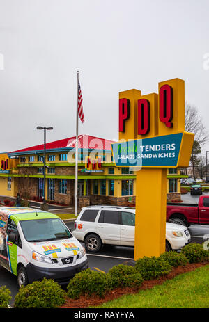 HICKORY, NC, USA-1/3/19: PDQ is a restaurant chain specializing in sandwiches and salads.  PDQ stands for 'people dedicated to quality'. - Stock Image