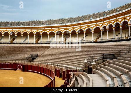 Grandstand and ring, Plaza de Toros (bullring), Seville, Spain - Stock Image