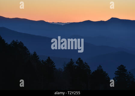 Spectacular mountain range vistas at sunrise from Newfound Gap in the Great Smoky Mountains National Park, outside Gatlinburg, Tennessee, USA. - Stock Image