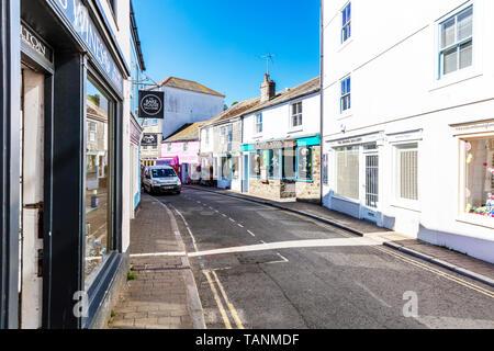 Salcombe, Devon, UK, England, Salcombe high street Devon, Salcombe shops, Salcombe, Devon, road, street, streets, roads, UK, Salcombe UK, Salcombe tow - Stock Image