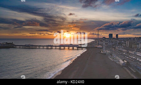 Aerial view of the seafront in Brighton at sunset - Stock Image