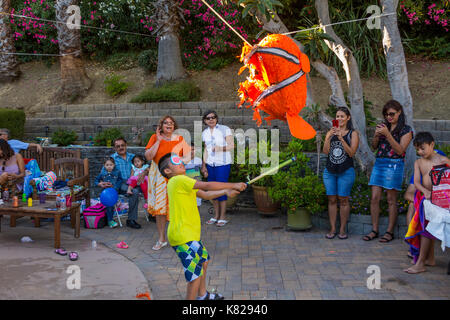 Hispanic boy, hitting a pinata, pinata filled with candy sweets and toys, birthday party, Castro Valley, Alameda County, California, United States - Stock Image