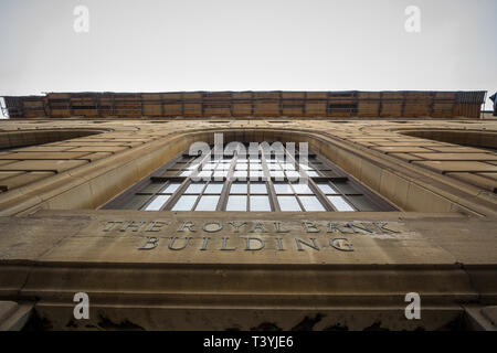 MONTREAL, CANADA - NOVEMBER 9, 2018: Entrance of the Royal Bank Building in Old Montreal. Also called Edifice Banque Royale, it is a 1920's skycraper  - Stock Image