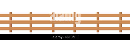 Pasture fence, seamless extendable, wooden textured - illustration on white background. - Stock Image