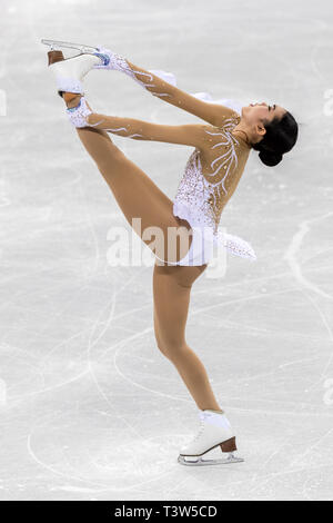 Karen Chen (USA) competing in the Figure Skating - Ladies' Short at the Olympic Winter Games PyeongChang 2018 - Stock Image