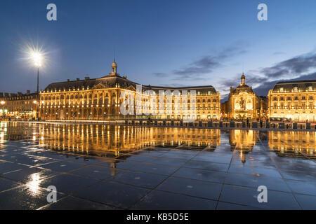 Place De La Bourse, Bordeaux, UNESCO-Weltkulturerbe, Gironde,  Aquitanien, Frankreich, Europa Bordeaux, France - Stock Image