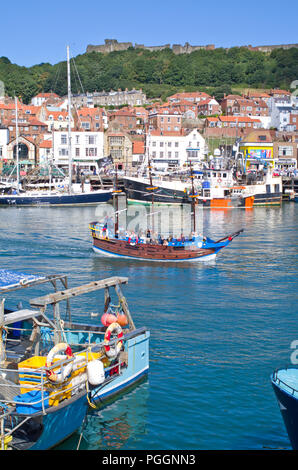 Fishing Boats in Scarborough Harbour North Yorkshire Coast UK - Stock Image