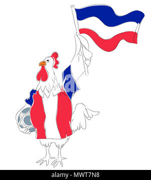 Soccer Mascot for France.  France rooster mascot for football tournaments. - Stock Image