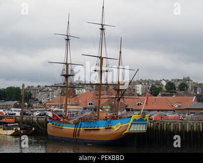 Full scale replica of Captain James Cook's ship Endeavour now opened as a visitor attraction and exhibition moored at Endeavour Wharf  Whitby - Stock Image