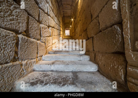 South corridor of roman water cistern at Alcazaba arab citadel. Merida, Extremadura, Spain - Stock Image