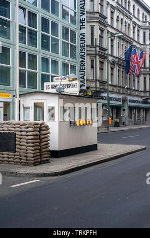 Checkpoint Charlie in Berlin, Germany - Stock Image