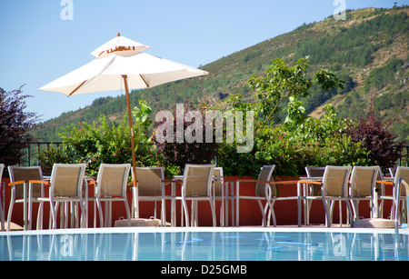 Resting at an esplanade, by the pool. Interested? - Stock Image