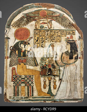 6396. Funerary stela showing a lady worshiping the Sun-God Re-Horakhty, the hieroglyphic text is a prayer to the gods for food for her spirit in after - Stock Image