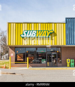 STATESVILLE, NC, USA-2/14/19:  Subway is a American fast food restaurant franchise, specializing in submarine sandwiches. - Stock Image