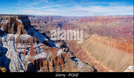 A panoramic view to the west of the Grand Canyon from Lipan Point. Colorado River and Hance Rapid at center. - Stock Image