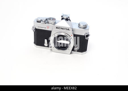 An old Konica Autoreflex T 35mm format SLR film camera body - Stock Image