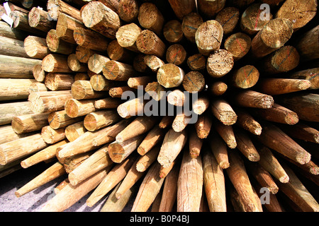 A shot of a stack of wooden posts. - Stock Image