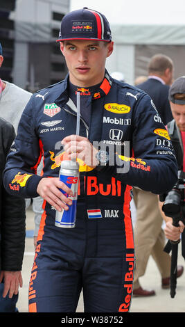 Silverstone Circuit. Northampton, UK. 13th July, 2019. FIA Formula 1 Grand Prix of Britain, Qualification Day; Aston Martin Red Bull Racing driver Max Verstappen Credit: Action Plus Sports/Alamy Live News - Stock Image