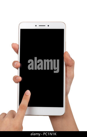 Closeup of a child's pair of hand using a large screen smartphone isolated on white background - Stock Image
