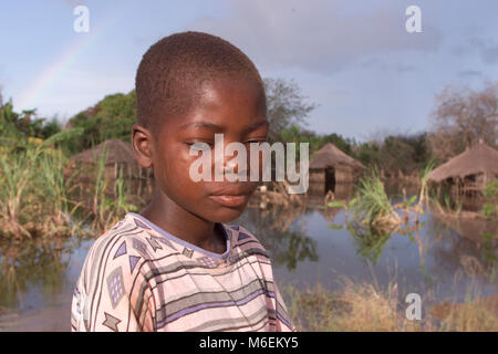 Floods in Mozambique March 2000; Many villages like this one near Inhassoro remain under water. - Stock Image