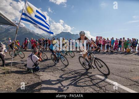 Romain Bardet Nairo Quintana Vincenzo Nibali Tour de France 2018 cycling stage 11 La Rosiere Rhone Alpes Savoie France - Stock Image