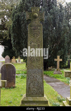 John Ruskin grave in St Andrews church, Coniston, Cubria. 200th anniversary of his birth on 8th February 1819 - Stock Image