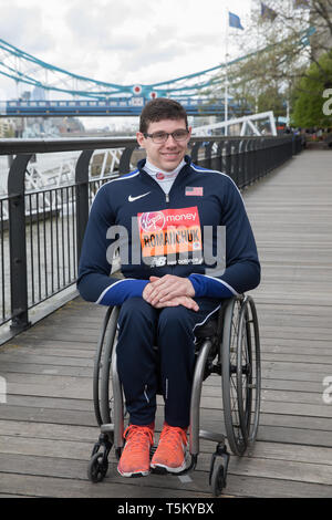London, UK. 25th Apr 2019. Daniel Romanchuk(USA) attends The London Marathon Wheelchair Athletes Photocall which took place outside the Tower Hotel with Tower Bridge in the background ahead of the Marathon on Sunday.  Credit: Keith Larby/Alamy Live News - Stock Image