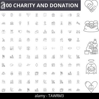 Charity and donation line icons, signs, vector set, outline illustration concept  - Stock Image