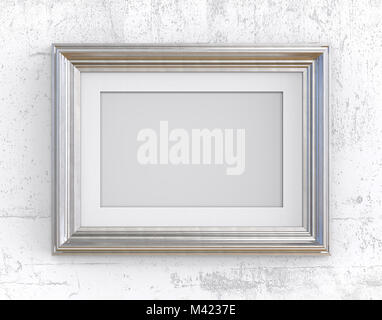 3D render of Vintage Silver Frame with passe-partout on concrete wall. Blank for Copy Space. - Stock Image