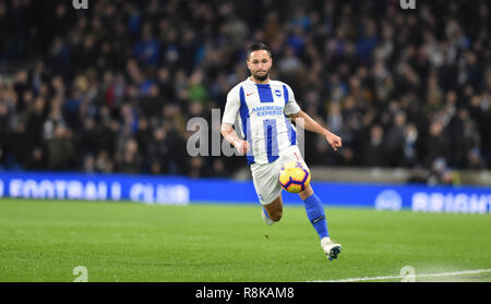 Florin Andone of Brighton chases down the ball which led to his goal during the Premier League match between Brighton & Hove Albion and Crystal Palace at the Amex Stadium . 04 December 2018 Photograph taken by Simon Dack  Editorial use only. No merchandising. For Football images FA and Premier League restrictions apply inc. no internet/mobile usage without FAPL license - for details contact Football Dataco - Stock Image