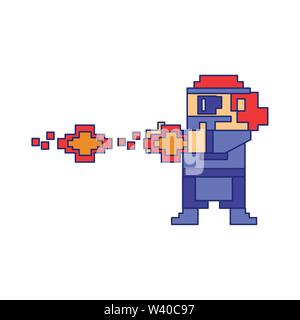 Videogame pixelated gangster shooting with handgun blue lines - Stock Image