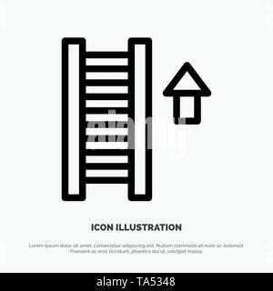 Ladder, Stair, Staircase, Arrow Line Icon Vector - Stock Image