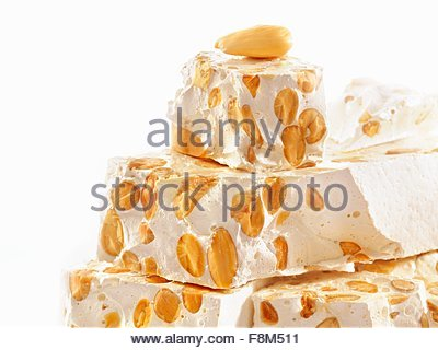 Torrone (Nougat made with honey and nuts) - Stock Image