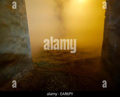 Drying the grains above the peat oven kiln Laphroaig distillery Islay Scotland - Stock Image