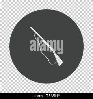 Hunting gun icon. Subtract stencil design on tranparency grid. Vector illustration. - Stock Image