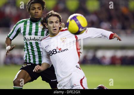 La Liga (Spanish League) 2008-2009 (february 7, 2009): Sevilla F.C. vs. Real Betis. Estadio Ramón Sánchez Pizjuan. Diego Capel - Stock Image